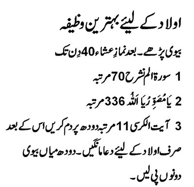 Qurani Wazifa or Wazaif for Aulad, All Problems in Urdu